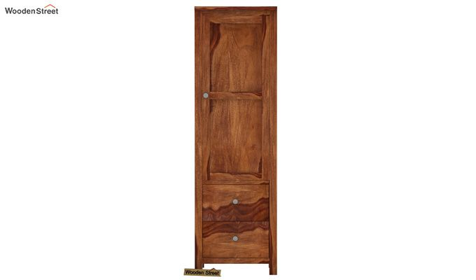 Zed 1 Door Multi Utility Wardrobe (Teak Finish)-2