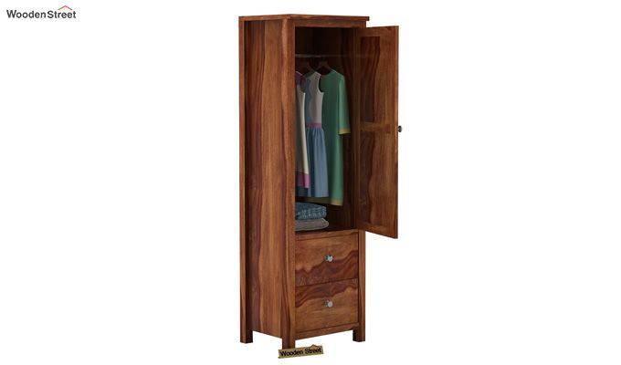 Zed 1 Door Multi Utility Wardrobe (Teak Finish)-3