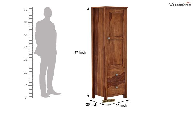 Zed 1 Door Multi Utility Wardrobe (Teak Finish)-4