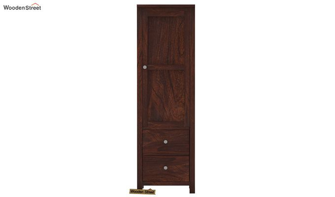 Zed 1 Door Multi Utility Wardrobe (Walnut Finish)-2