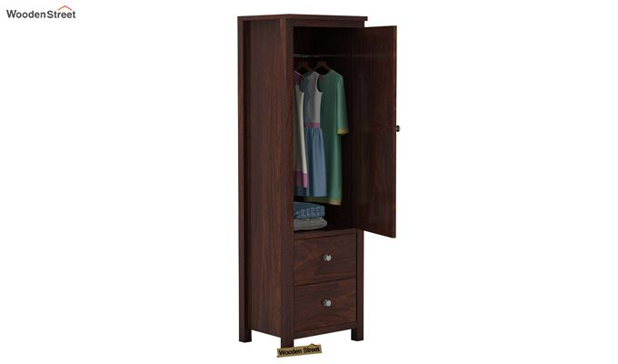 Zed 1 Door Multi Utility Wardrobe (Walnut Finish)-3