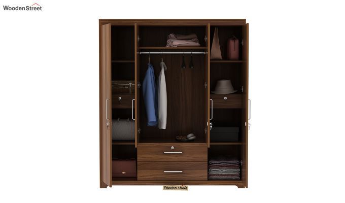 Alcott 4 Door Wardrobe with Mirror (Exotic Teak Finish)-7