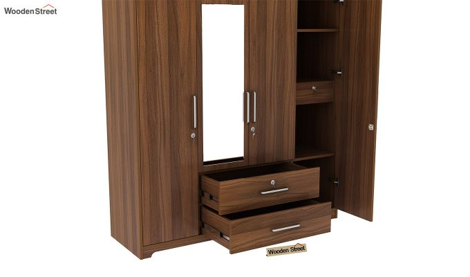 Alcott 4 Door Wardrobe with Mirror (Exotic Teak Finish)-8