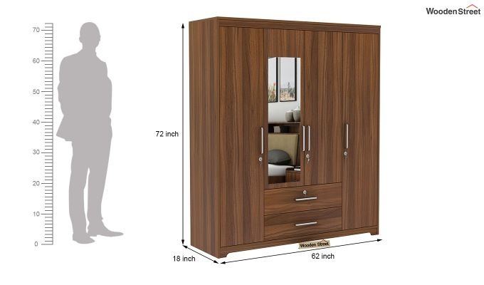 Alcott 4 Door Wardrobe with Mirror (Exotic Teak Finish)-9