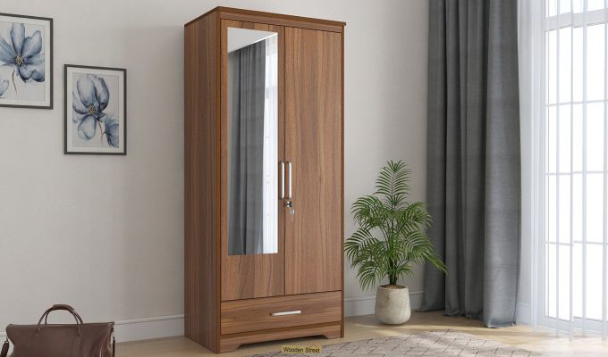 Aspen 2 Door Wardrobe with Mirror and Single Drawer (Exotic Teak Finish)-1