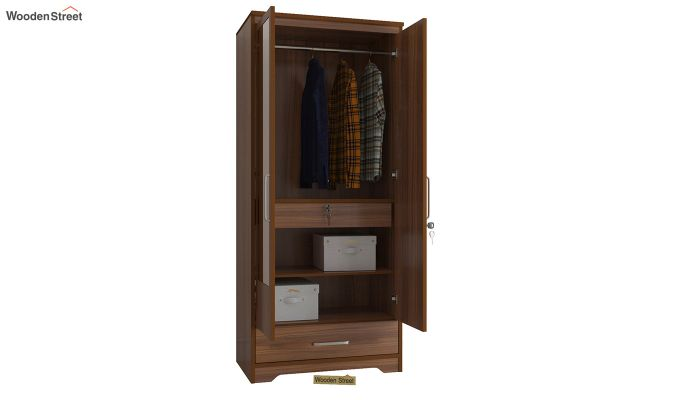 Aspen 2 Door Wardrobe with Mirror and Single Drawer (Exotic Teak Finish)-4