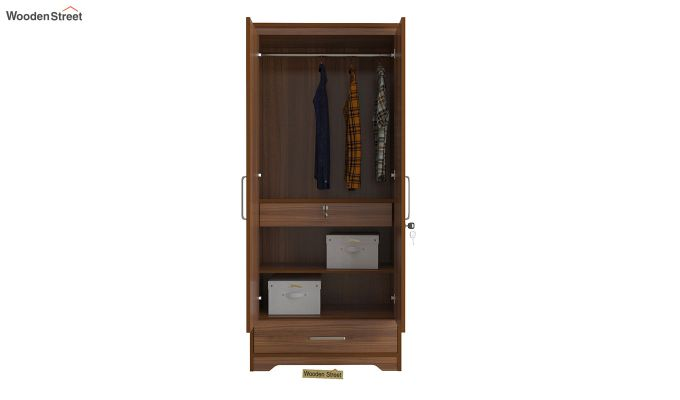 Aspen 2 Door Wardrobe with Mirror and Single Drawer (Exotic Teak Finish)-5