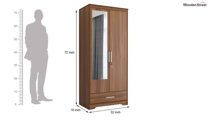 Aspen 2 Door Wardrobe with Mirror and Single Drawer (Exotic Teak Finish)-6