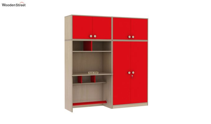 Cherry Multi-Utility Wardrobe with Study Table (Cardinal Red)-5