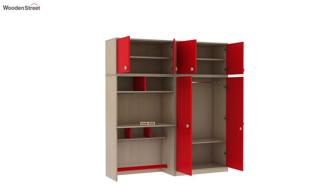 Cherry Multi-Utility Wardrobe with Study Table (Cardinal Red)-7