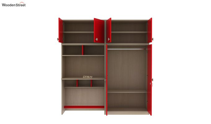 Cherry Multi-Utility Wardrobe with Study Table (Cardinal Red)-8
