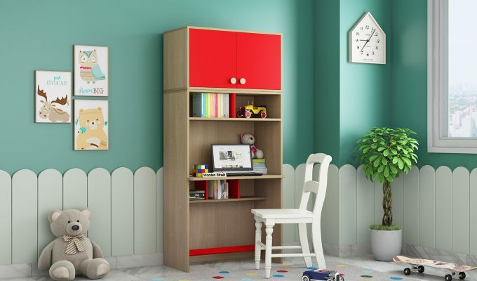 Cherry Study Table with Storage (Cardinal Red)-1