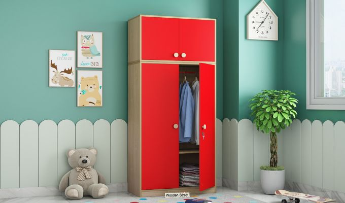 Cherry Multi-Utility Wardrobe with Study Table (Cardinal Red)-2