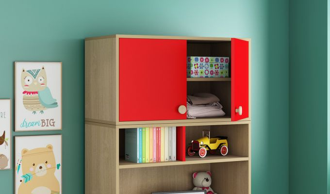 Cherry Study Table with Storage (Cardinal Red)-2