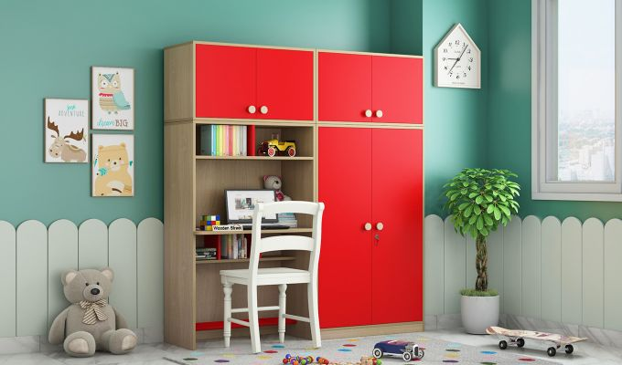 Cherry Multi-Utility Wardrobe with Study Table (Cardinal Red)-1