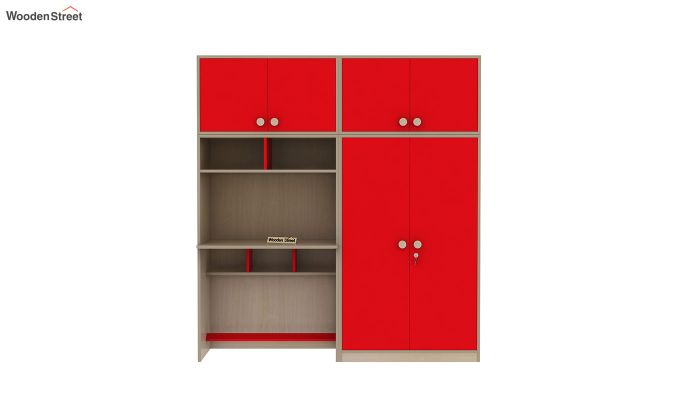 Cherry Multi-Utility Wardrobe with Study Table (Cardinal Red)-6