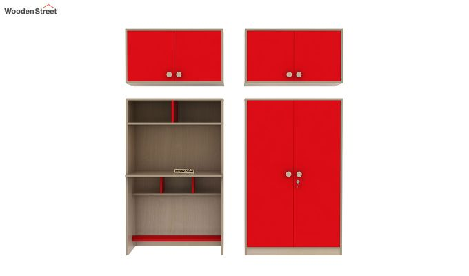 Cherry Multi-Utility Wardrobe with Study Table (Cardinal Red)-13