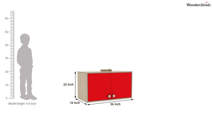 Cherry Study Table with Storage (Cardinal Red)-9