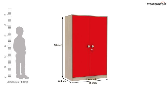 Cherry 2 Door Multi-Utility Wardrobe (Cardinal Red)-11