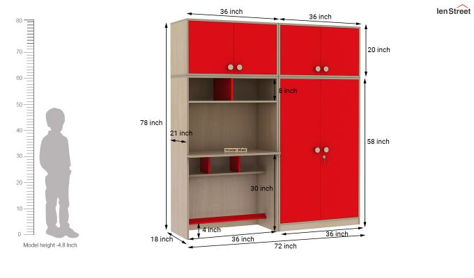 Cherry Multi-Utility Wardrobe with Study Table (Cardinal Red)-19