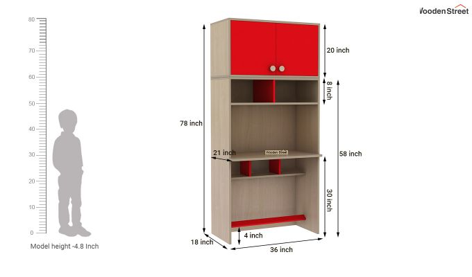 Cherry Study Table with Storage (Cardinal Red)-10