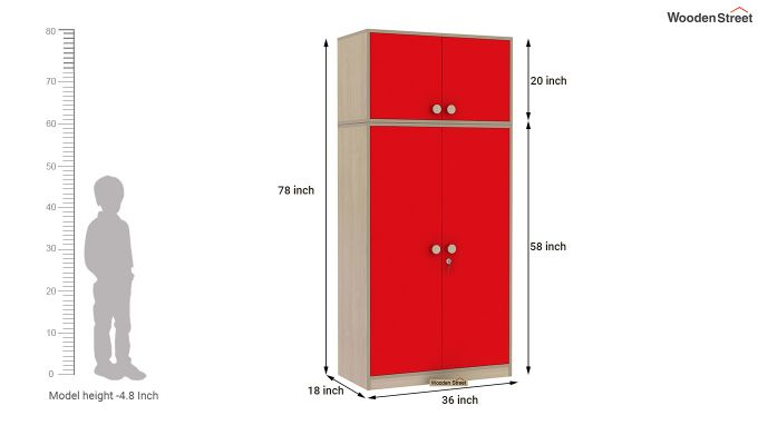 Cherry 2 Door Multi-Utility Wardrobe (Cardinal Red)-12