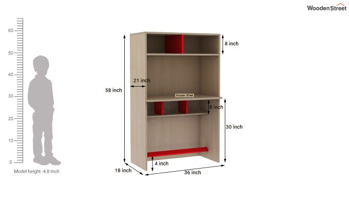 Cherry Study Table with Storage (Cardinal Red)-8
