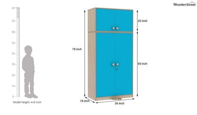 Cherry 2 Door Multi-Utility Wardrobe (Celestial Blue)-12