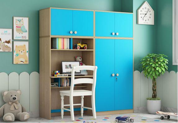 Cherry Multi-Utility Wardrobe with Study Table (Celestial Blue)