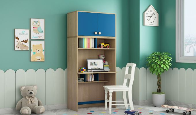 Cherry Multi-Utility Wardrobe with Study Table (Electric Blue)-3