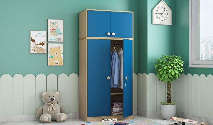 Cherry Multi-Utility Wardrobe with Study Table (Electric Blue)-2