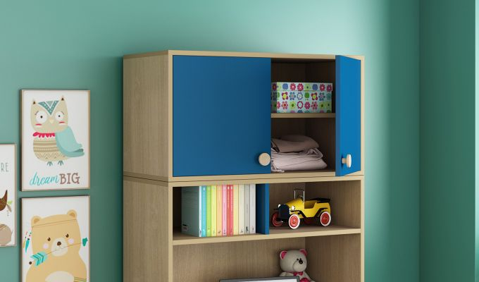 Cherry Multi-Utility Wardrobe with Study Table (Electric Blue)-4