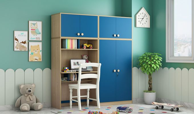 Cherry Multi-Utility Wardrobe with Study Table (Electric Blue)-1