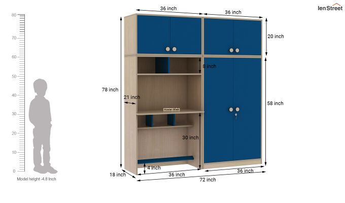 Cherry Multi-Utility Wardrobe with Study Table (Electric Blue)-19