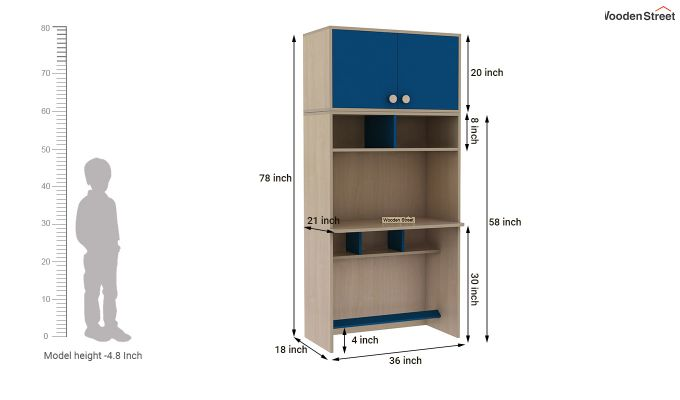 Cherry Study Table with Storage (Electric Blue)-10
