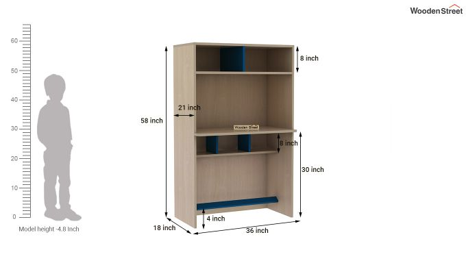 Cherry Study Table with Storage (Electric Blue)-9