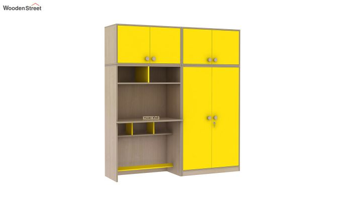 Cherry Multi-Utility Wardrobe with Study Table (Marigold Yellow)-5