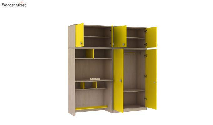Cherry Multi-Utility Wardrobe with Study Table (Marigold Yellow)-7