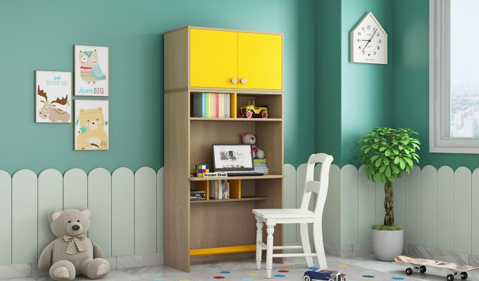 Cherry Multi-Utility Wardrobe with Study Table (Marigold Yellow)-3