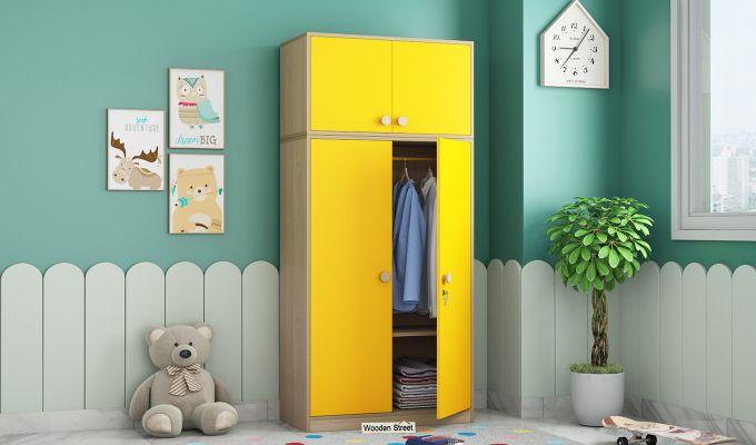 Cherry 2 Door Multi-Utility Wardrobe (Marigold Yellow)-1