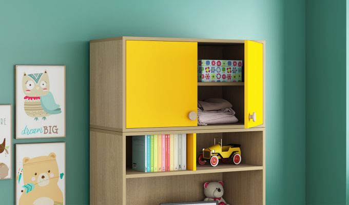 Cherry Study Table with Storage (Marigold Yellow)-2
