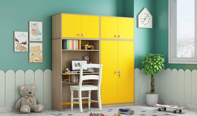 Cherry Multi-Utility Wardrobe with Study Table (Marigold Yellow)-1