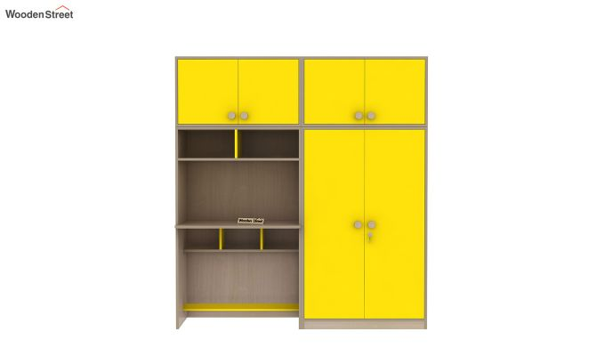 Cherry Multi-Utility Wardrobe with Study Table (Marigold Yellow)-6