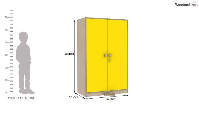Cherry 2 Door Multi-Utility Wardrobe (Marigold Yellow)-11