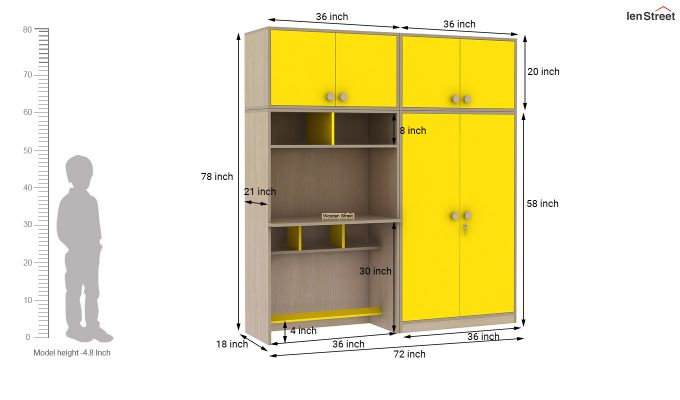 Cherry Multi-Utility Wardrobe with Study Table (Marigold Yellow)-19