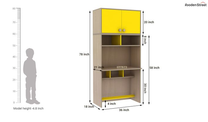 Cherry Study Table with Storage (Marigold Yellow)-10