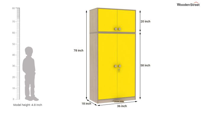 Cherry 2 Door Multi-Utility Wardrobe (Marigold Yellow)-12