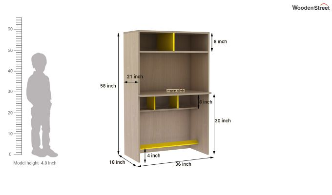 Cherry Study Table with Storage (Marigold Yellow)-9