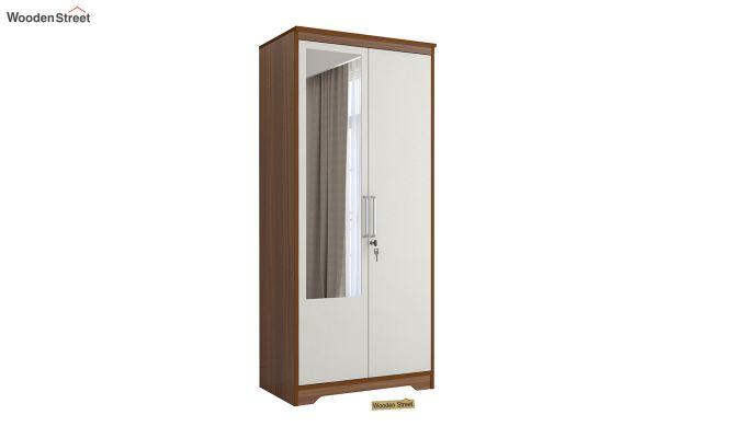 Denver 2 Door Wardrobe with Frosty White Door and Mirror (Exotic Teak Finish)-2