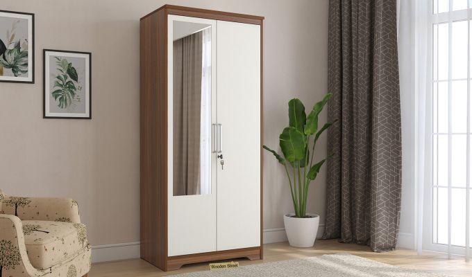 Denver 2 Door Wardrobe with Frosty White Door and Mirror (Exotic Teak Finish)-1